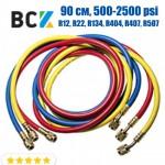 Шланг заправочный 90 см, 500-2500 psi ICE LOONG CH-500-90 (3 шт.), 1/4-1/4 - для R12, R22, R134, R404, R407, R507