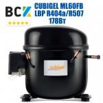 Компрессор герметичный низкотемпературный LBP R404a/R507 CUBIGEL ML60FB 178Вт для холодильных агрегатов