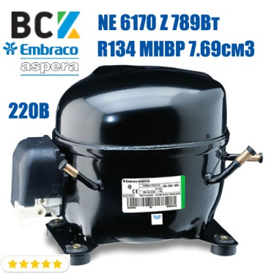 Компрессор герметичный  среднетемпературный Embraco Aspera NE 6170 Z 789Вт R134a MHBP 7.69см3 CSIR для холодильных агрегатов 220В