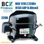Компресор герметичний низькотемпературний Embraco Aspera NEK 1118 Z 224Вт R134a LBP 8.40см3 CSIR для холодильних агрегатів 220В