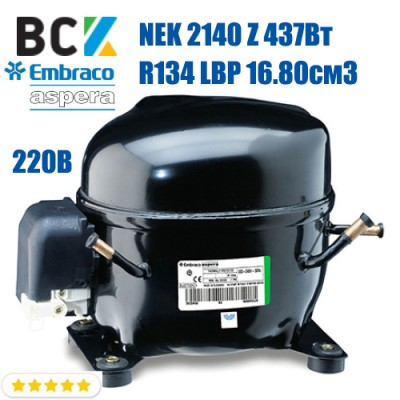 Компрессор герметичный низкотемпературный Embraco Aspera NEK 2140 Z 437Вт R134a LBP 16.80см3 CSIR для холодильных агрегатов 220В