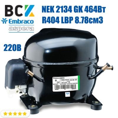 Компрессор герметичный низкотемпературный Embraco Aspera NEK 2134 GK 464Вт R404a LBP 8.78см3 CSIR для холодильных агрегатов 220В