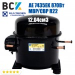 Компрессор герметичный среднетемпературный MBP/CBP R22 Kulthorn Kirby AE 7435EK 870Вт 12.04см3 для холодильных агрегатов 220В аналог embraco NE9213E