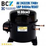 Компрессор герметичный низкотемпературный LBP R404a/R507 Kulthorn Kirby AE 2432ZK 774Вт 18.00см3 для холодильных агрегатов 220В аналог embraco