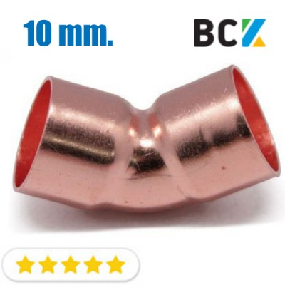 Колено 45° 10 мм медь угол отвод медный метрика под пайку