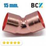 Колено 45° 15 мм медь угол отвод медный метрика под пайку