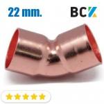 Колено 45° 22 мм медь угол отвод медный метрика под пайку