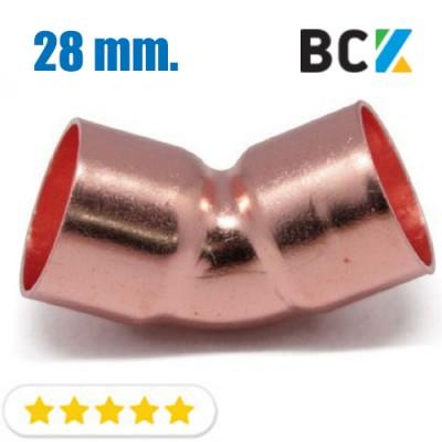 Колено 45° 28 мм медь угол отвод медный метрика под пайку