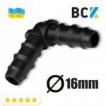 Кут 90 град для дренажної труби 16 мм пластик чорний для установки і монтажу кондиціонерів відвод конденсату