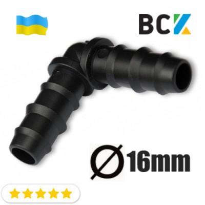 Угол 90 град для дренажной трубы 16 мм пластик черный для установки и монтажа кондиционеров вывод конденсата